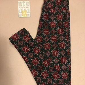 LuLaRoe OS Merry & Bright Leggings New